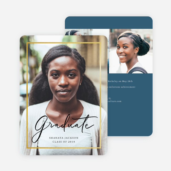 Foil Border Elegance Graduation Invitations - Blue