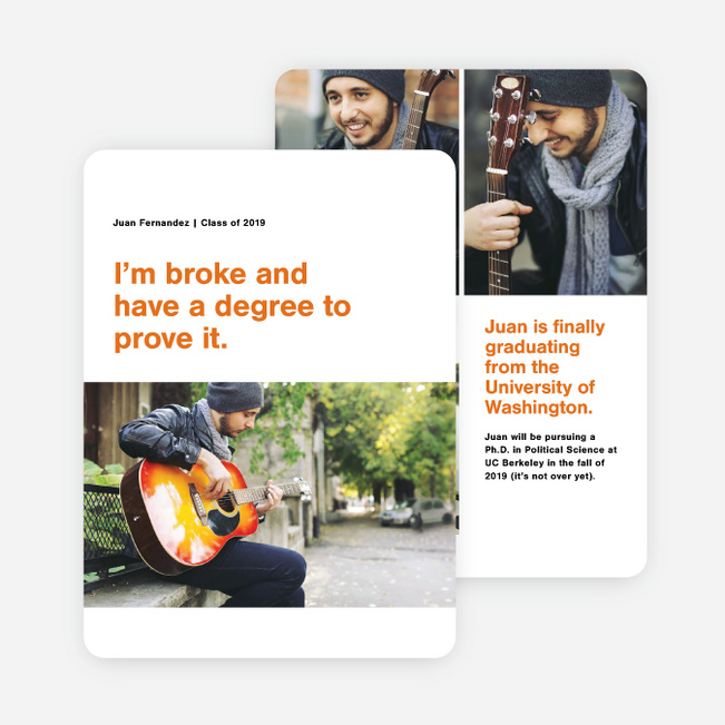 Split Screen Graduation Announcements - Orange