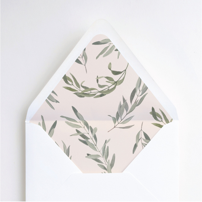 Olive You Wedding Envelope Liners - Green