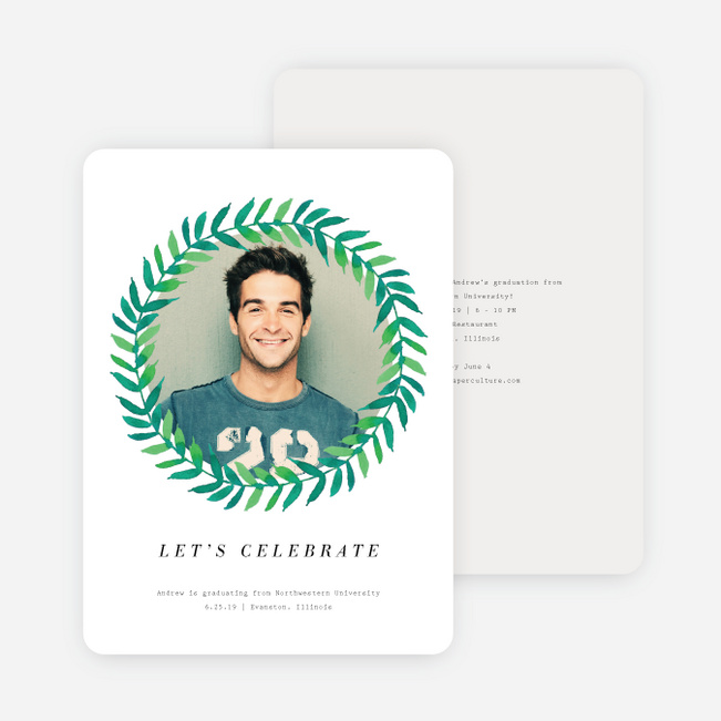 Laurel Wreath Graduation Announcements - White