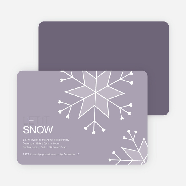 Let It Snow Snowflake Holiday Party Invitations - Mercury