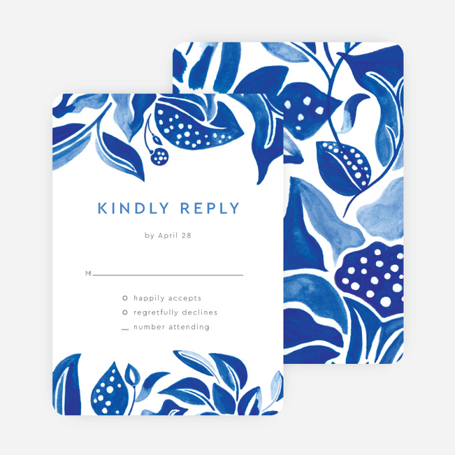 Beautiful Botanicals Wedding Invitations - Blue