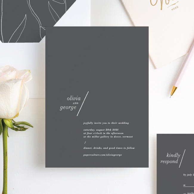 Delicate Details Wedding Invitations - Gray