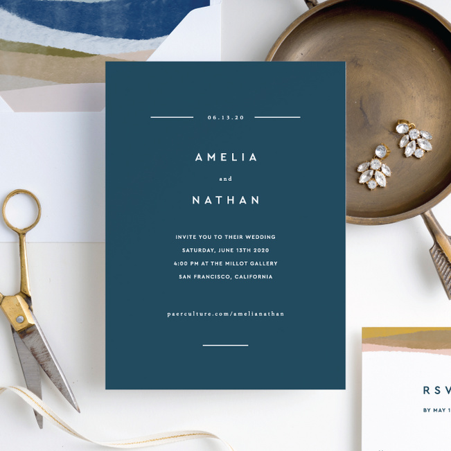 Earthy Waves Wedding Invitations - Blue