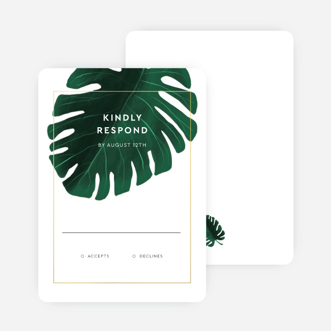 Monstera Impression Wedding Invitations - Green