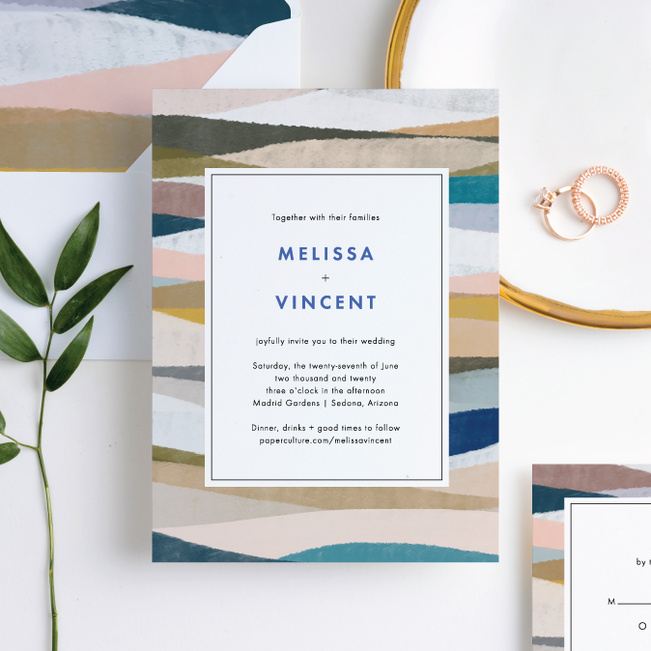 Painted Boundary Wedding Invitations Suites - Blue