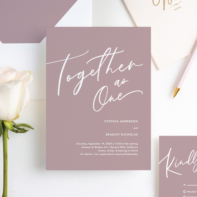 Relaxed Script Wedding Invitations - Pink