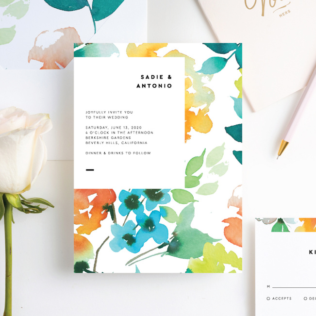 Springtime Watercolors Wedding Invitation Suites - Multi