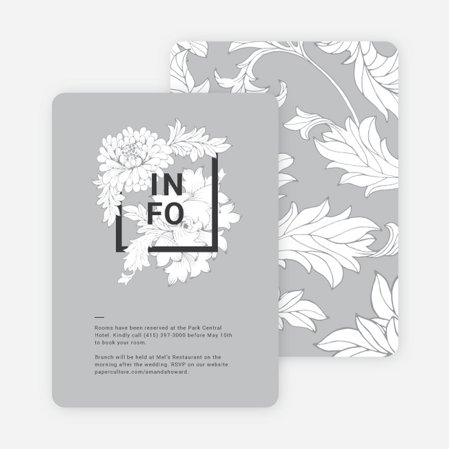 Vintage Florals Wedding Invitation Suites - Gray