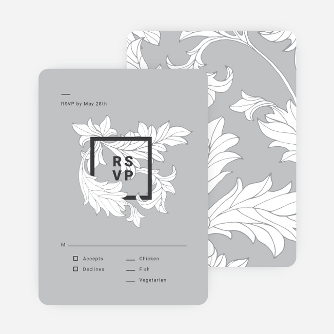 Vintage Contemporary Wedding Invitation Suites - Gray