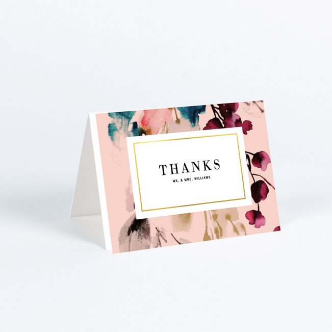 Foil Bountiful Frame Wedding Thank You Cards - Yellow