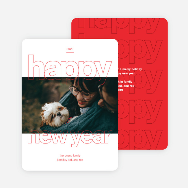 Happy Days New Year Cards - Red