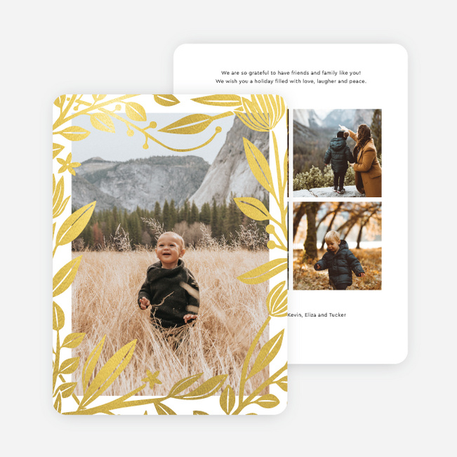 Foil Rustic Frame Holdiay Cards - Yellow