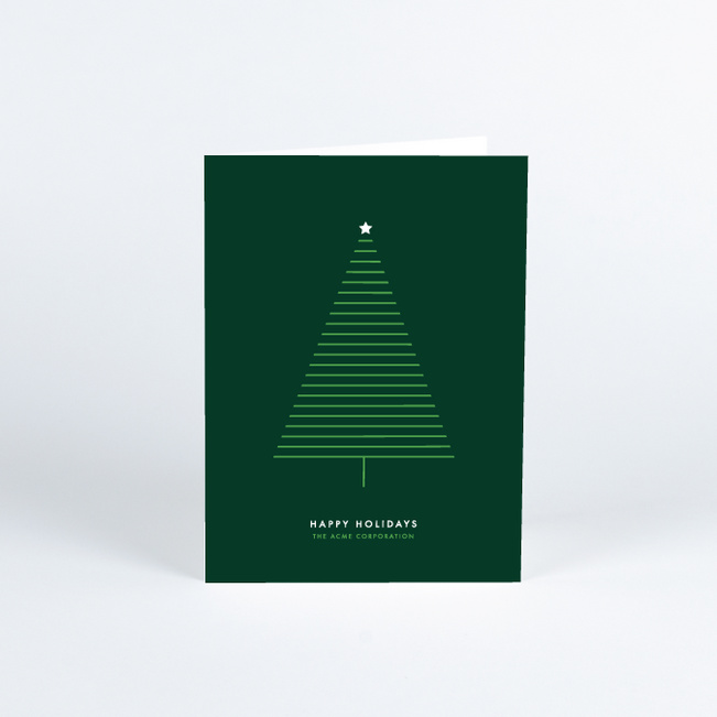 Modern Tree Corporate Christmas Cards - Green