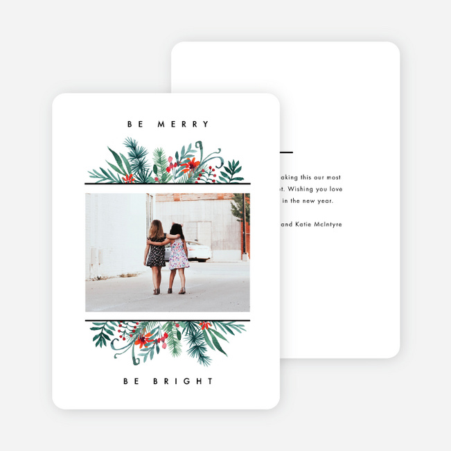 Floral Sandwich Holiday Cards - White