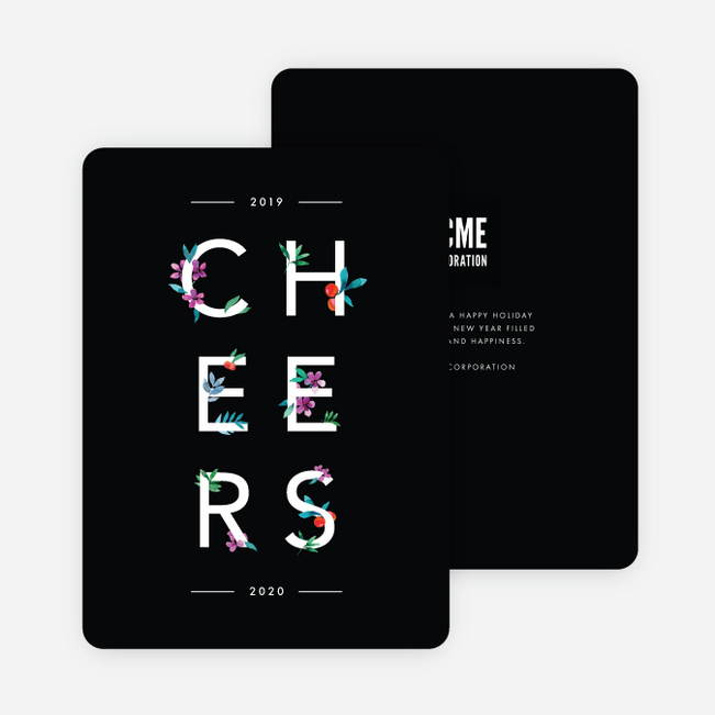 Lush Type Corporate Holiday Cards - Black