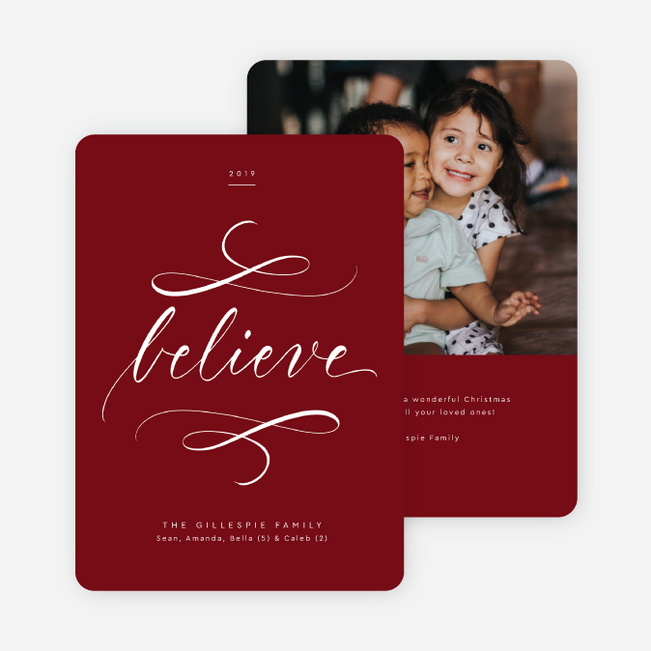Timeless Script Christmas Cards - Red