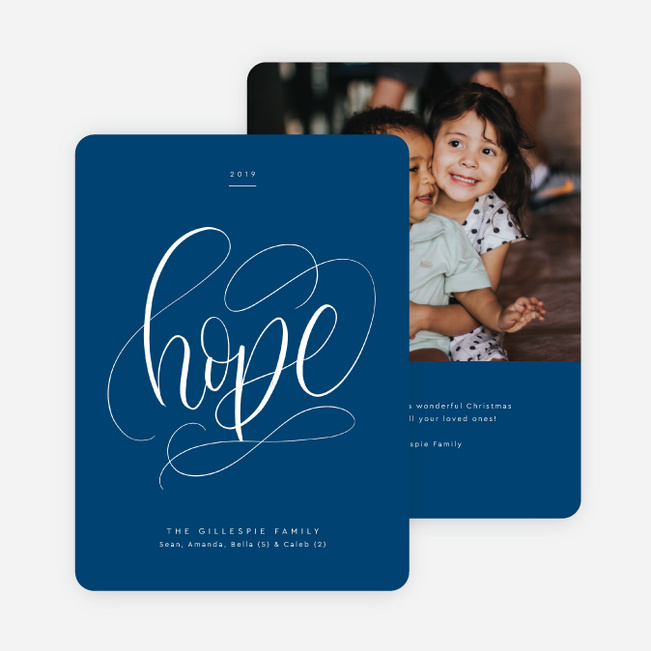 Timeless Script Christmas Cards - Blue