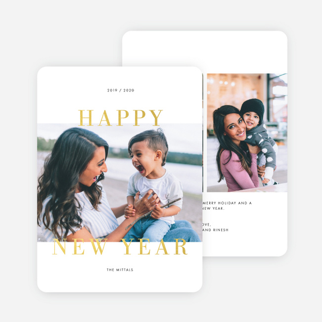 Foil Moments New Years Cards - Yellow