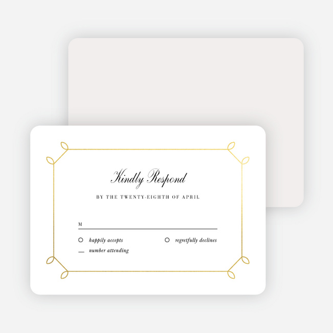 Foil Elegant Scroll Wedding Response Cards - Yellow