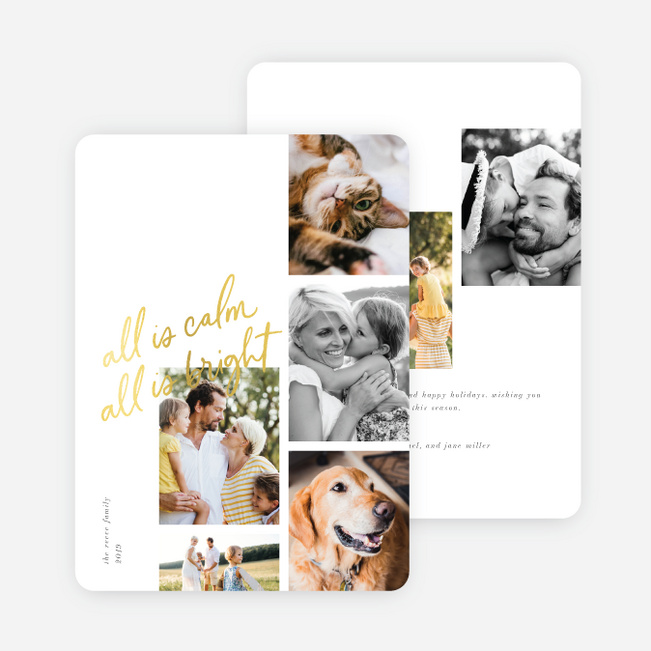 Foil Calming Moment Christmas Cards - Yellow