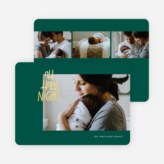 Foil Holy Night Christmas Cards - Green