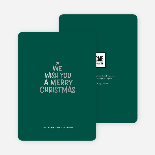 Foil Wish List Christmas Cards - Green