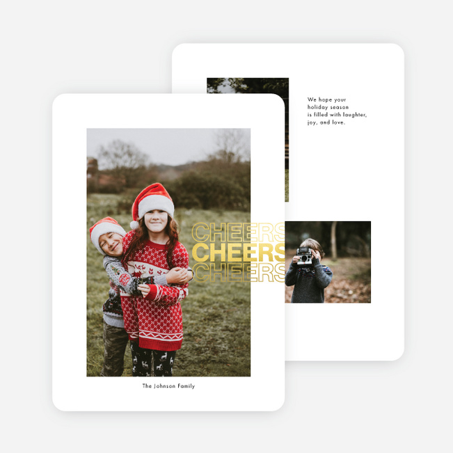 Foil Cheerful Mindset Holiday Cards - Yellow