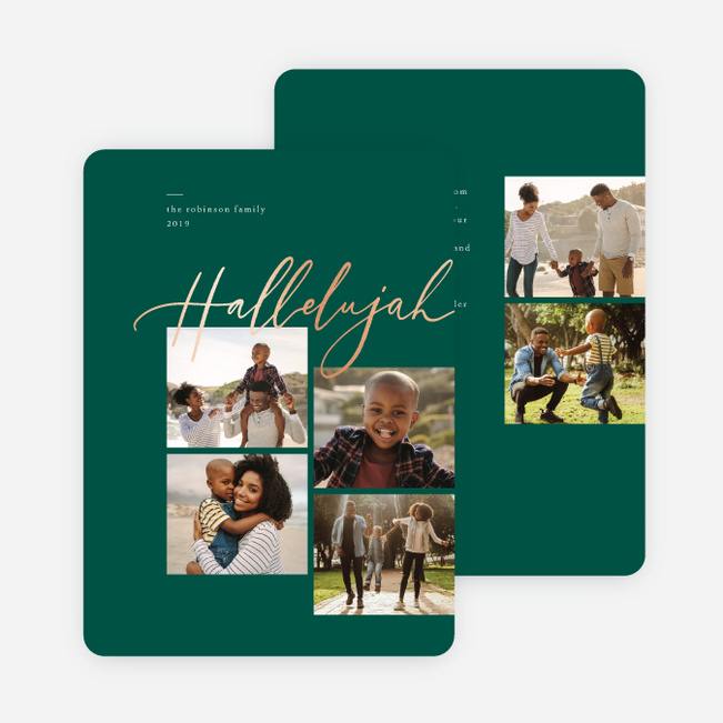 Foil Hallelujah Christmas Cards - Green