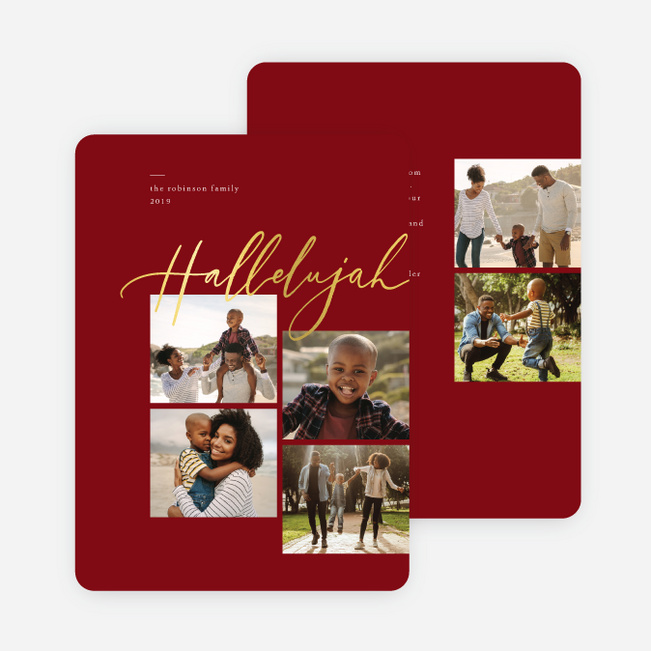 Foil Hallelujah Christmas Cards - Red