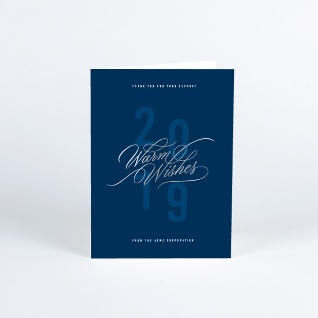 Foil Warm Wishes Business Holiday Cards - Blue