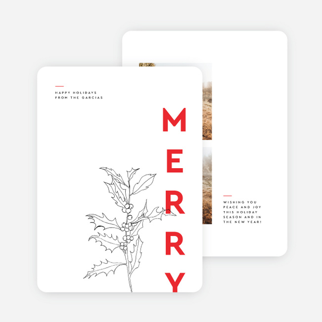 Merry Lined Up Holiday Cards - Red