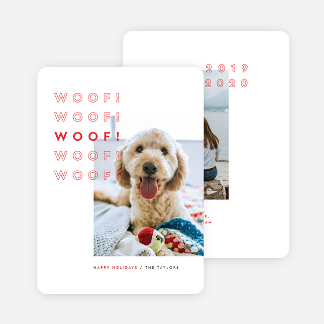 Woof the Season Pet Holiday Cards - Red