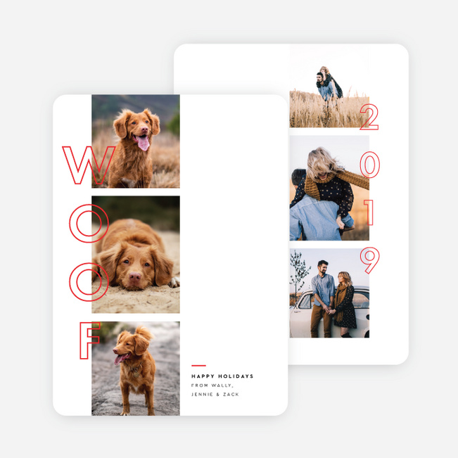 Bark About It Pet Holiday Cards - Red