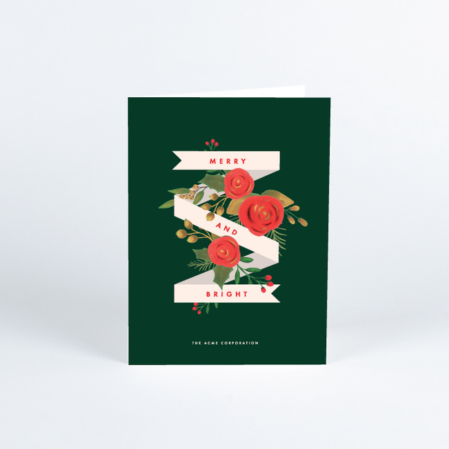 Classic Bouquet Corporate Holiday Cards - Green