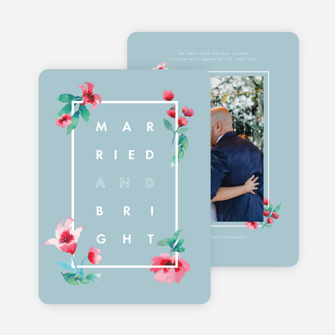 Married Flowering Frame Holiday Cards - Blue
