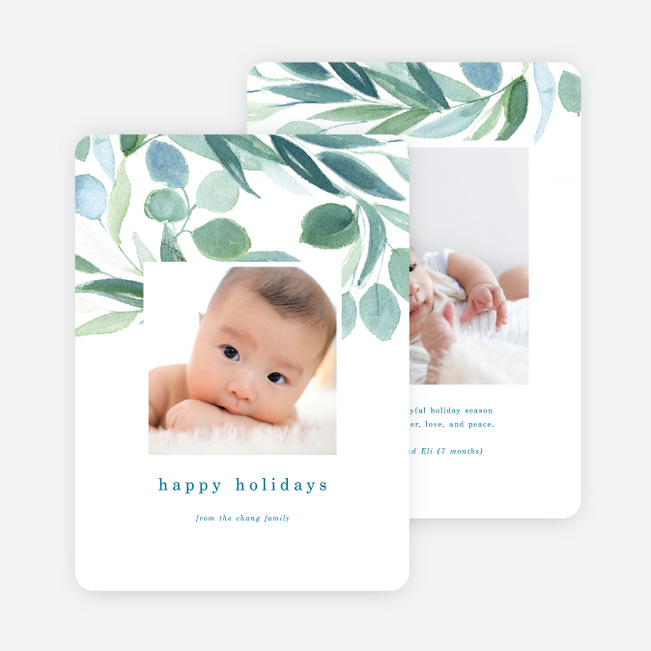 Watercolor Joy Holiday Cards - Green
