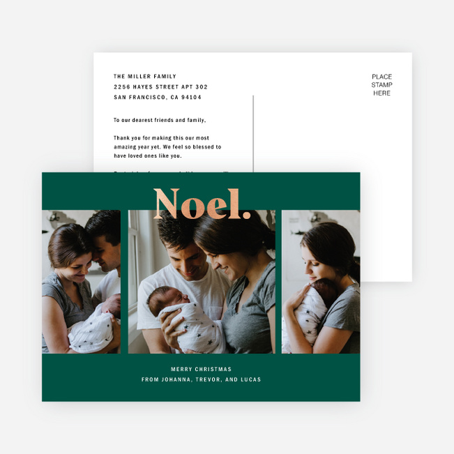 Foil Noel Christmas Cards - Green