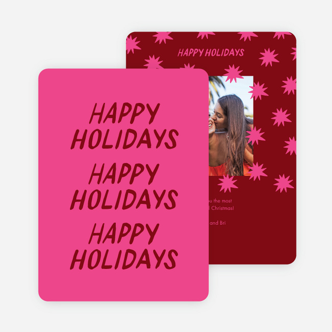Starry and Happy Holiday Cards - Pink