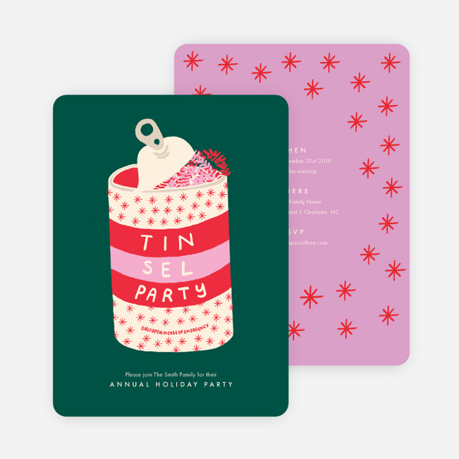 Tinsel Party Holiday Invitations - Multi