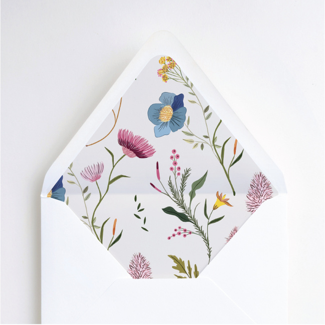 Herbs & Wildflowers Wedding Envelope Liners - Multi