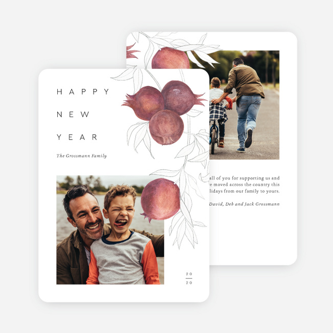 Pomegrateful New Year Cards - White