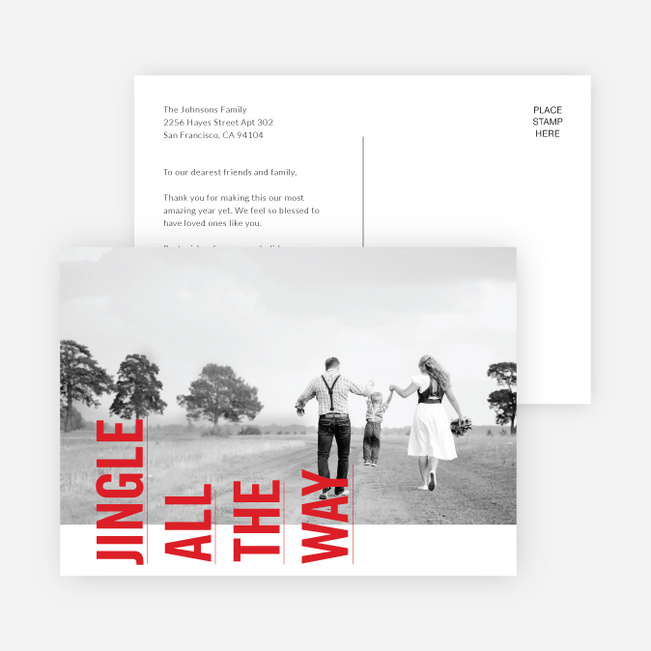 Sideways Text Christmas Cards - Red