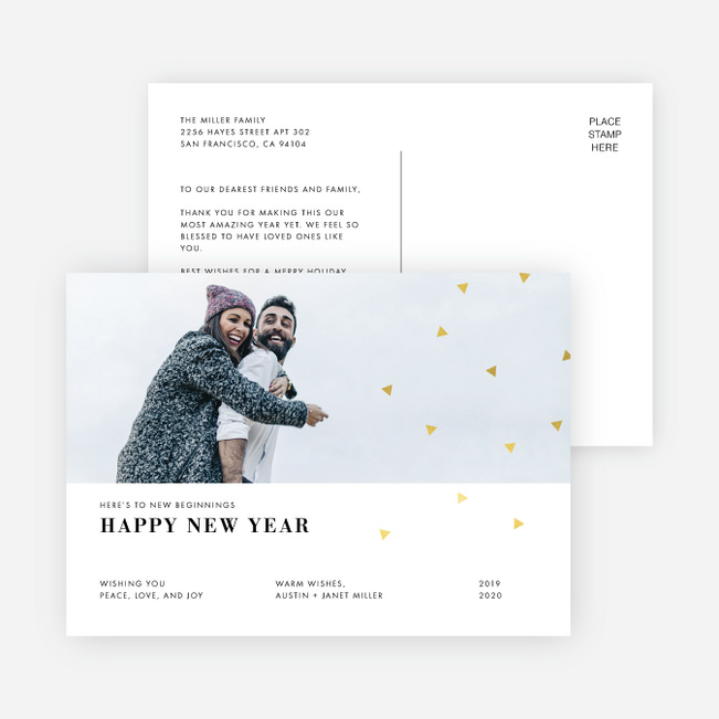Editorial Style New Year Cards - Yellow