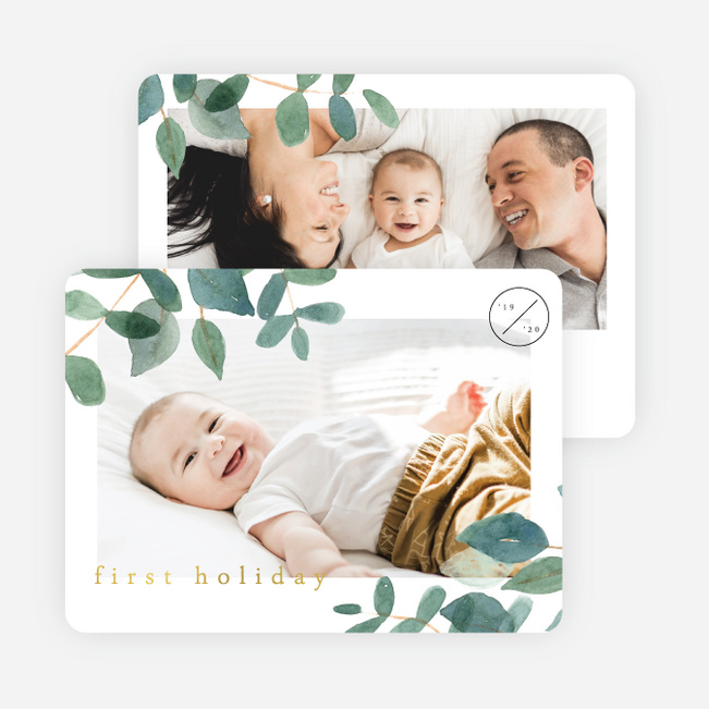 Foil Leafy Corners Christmas Cards - Yellow
