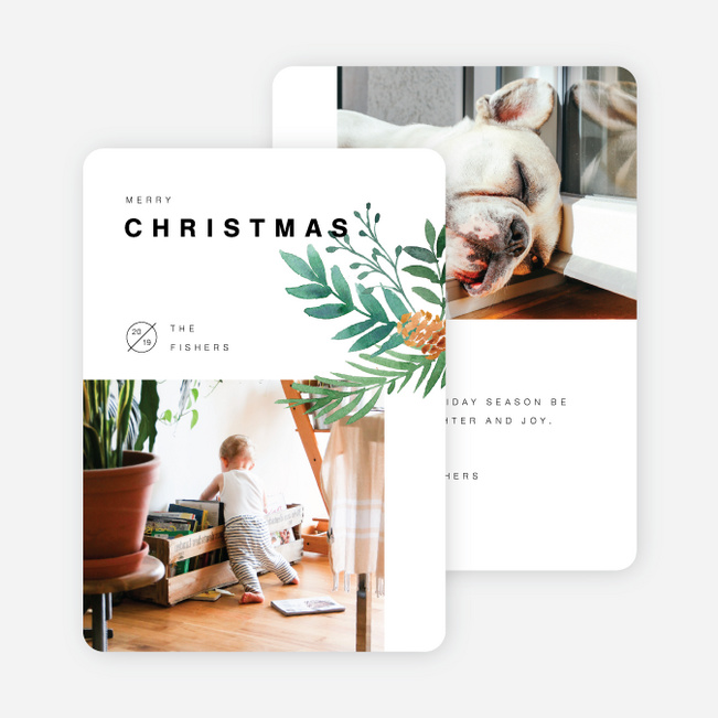 Artisanal Feel Christmas Cards - White