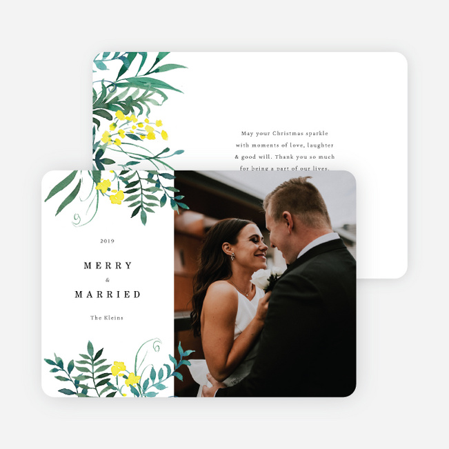 Married Bouquet Christmas Cards - White