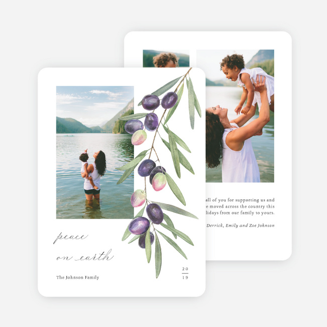 Peaceful Olive Branch Holiday Cards - White