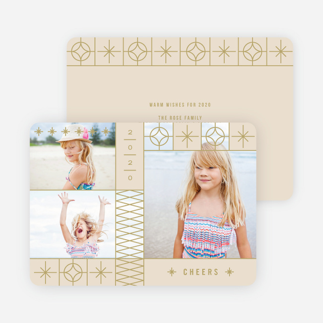 Photo Stars New Year Cards - Beige
