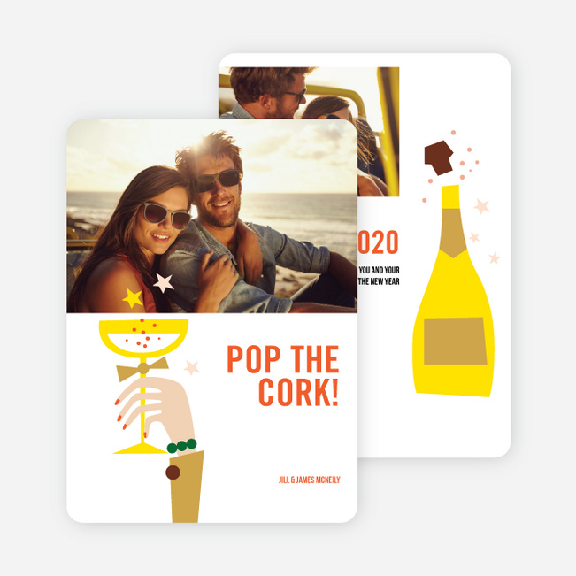Pop the Champagne New Year's Cards - Yellow
